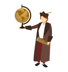 Man christopher columbus with global map desk vector