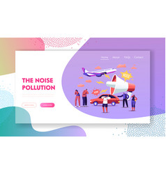 Noise pollution landing page template tiny vector