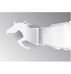 Paper horse ripping grey paper background vector