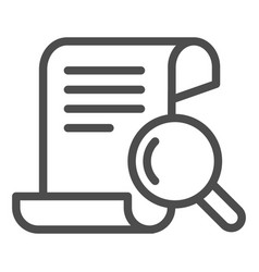 Papyrus search line icon manuscript and magnifier vector