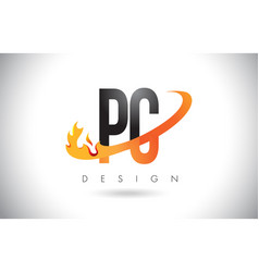 Pc p c letter logo with fire flames design and vector