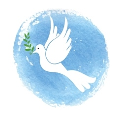 Peace day symbolWhite pigeonwatercolor blue sky vector image