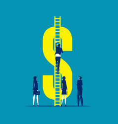 Person climb ladder to money symbol business vector