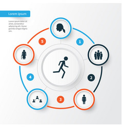 Person icons set collection of running group vector
