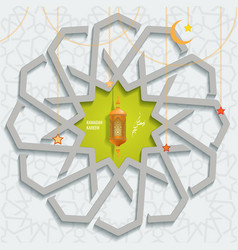 Ramadan karem islamic greeting card with vector