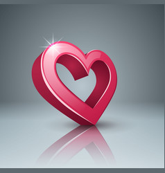 realistic 3d icon heart and love vector image