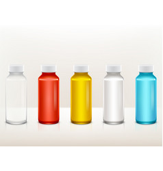 Realistic plastic medical paint bottle set vector