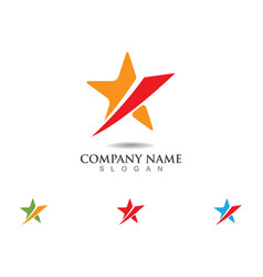 red and blue star falcon logo template icon vector image