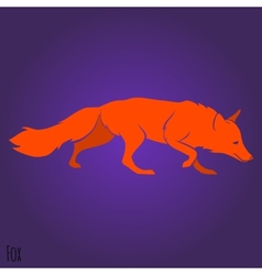 Red running fox silhouette vector image