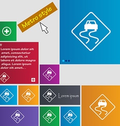 Road slippery icon sign buttons Modern interface vector