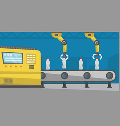 Robotic arm working on conveyor belt with bottles vector