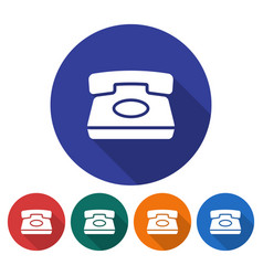 round icon of retro phone flat style with long vector image