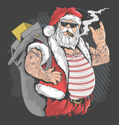 Santa claus merry christmas tattoo and cigarette vector