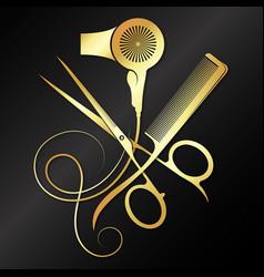 Scissors comb and hair dryer golden symbol vector