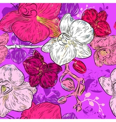 Seamless Floral Pattern with Orchids vector image