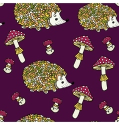 Seamless pattern with hedgehogs and mushrooms vector image