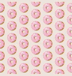 seamless pattern with pink glazed donuts vector image
