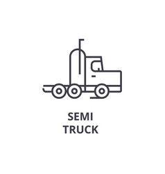 semi truck line icon sign on vector image