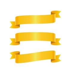 set golden ribbon bannes vector image