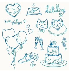 Set of cat wedding elements outlines vector