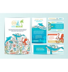 Set of corporate wild sealife templates vector image