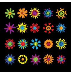 set of design elements flowers vector image