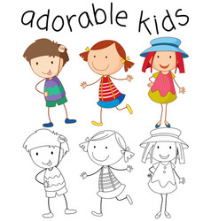 Set of doodle adorable kids vector