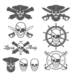 set pirate themed design elements vector image