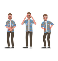 Set sick man with pain in different parts vector