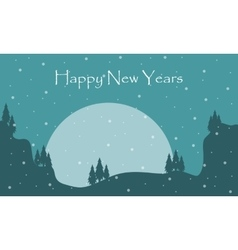 Silhouette of scenery New Years vector