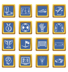 Soccer football icons set blue square vector