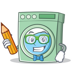 Student with pencil washing machine character vector
