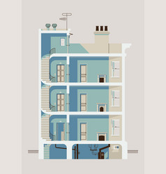 Stylish downtown residential three story building vector