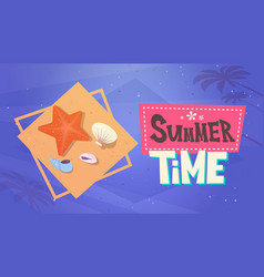 summer time vacation sea travel retro banner vector image