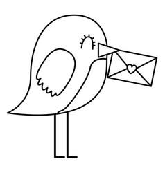 sweet bird with envelope message in beak cartoon vector image