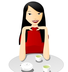 Tea with asian girl vector image