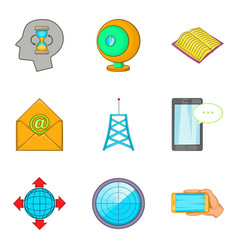 Television network icons set cartoon style vector