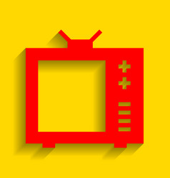 tv sign red icon with soft vector image