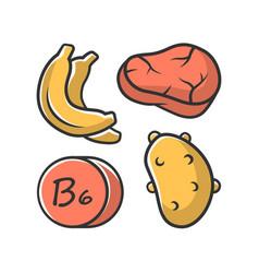 Vitamin b6 color icon meat banana and potato vector