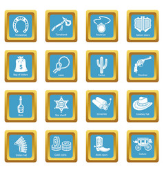 wild west icons set sapphirine square vector image