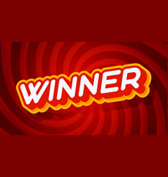 winner red and yellow text effect template vector image