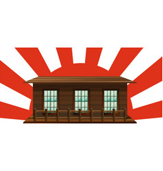 Wooden house with sun in background vector