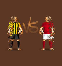 Yellow and red soccer players holding vintage vector
