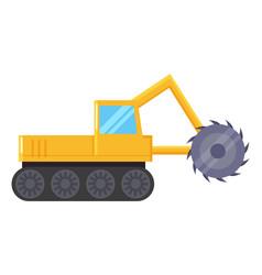 yellow excavator machine for coal mining industry vector image