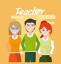 Young teachers teamwork vector