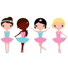 Cute beautiful ballerina girls isolate on white vector image vector image