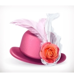 Hat with rose and feathers vector image vector image