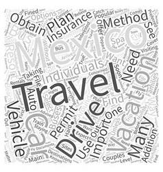 Travel Options While Vacationing in Mexico Word vector image vector image
