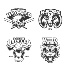Vintage labels with wolf bulls ram and vector image