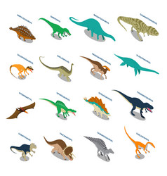 dinosaurs isometric icons set vector image